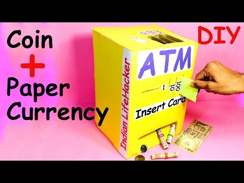 How to make piggy bank atm machine at home diy craft for for Diy crafts youtube channels