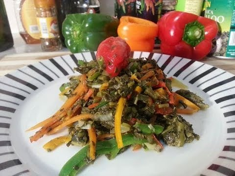 Community Magazine – fry up Steamed Callaloo Vegetarian Dish (Caribbean food)