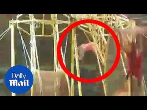 Acróbata colombiano cae desde 9 metros y sobrevive (VÍDEO)