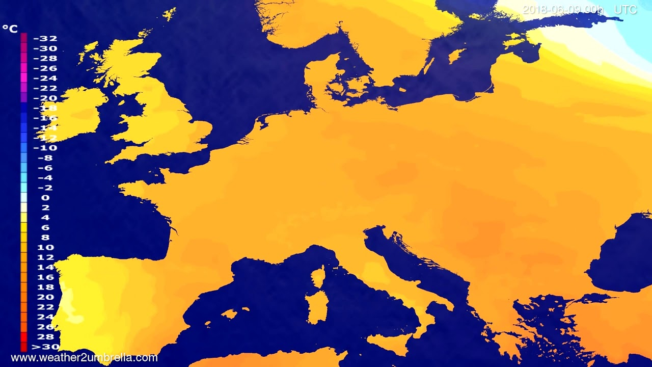 Temperature forecast Europe 2018-06-06
