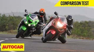 9. Suzuki Hayabusa VS Kawasaki Ninja ZX-14R | Comparison Test | Autocar India