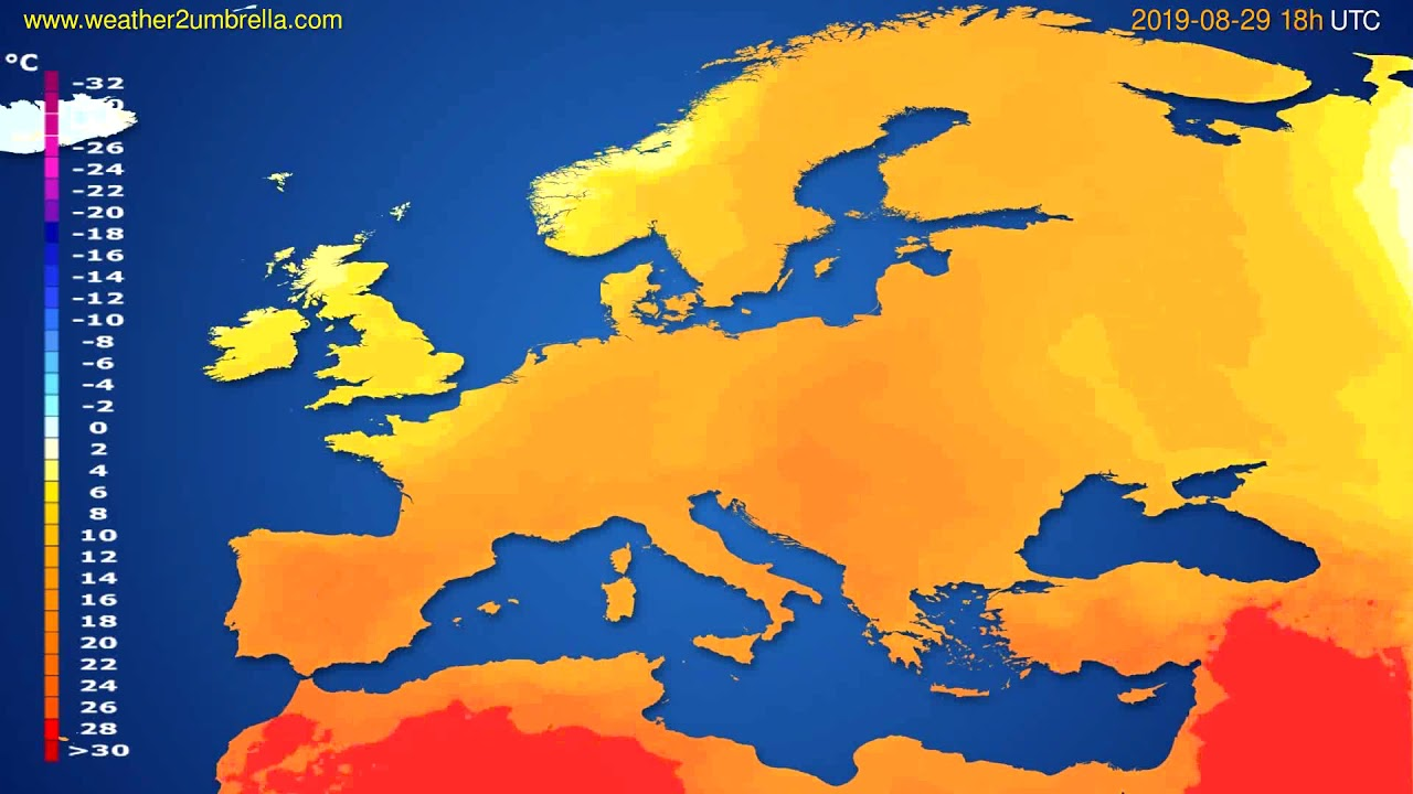 Temperature forecast Europe // modelrun: 12h UTC 2019-08-27