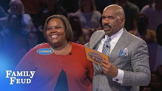 You'll never guess how many points she got!!! SUBSCRIBE: http://bit.ly/FamilyFeudSub Visit our NEW STORE: manicmerch.com/familyfeud PLAY the new FEUD MATCHES...