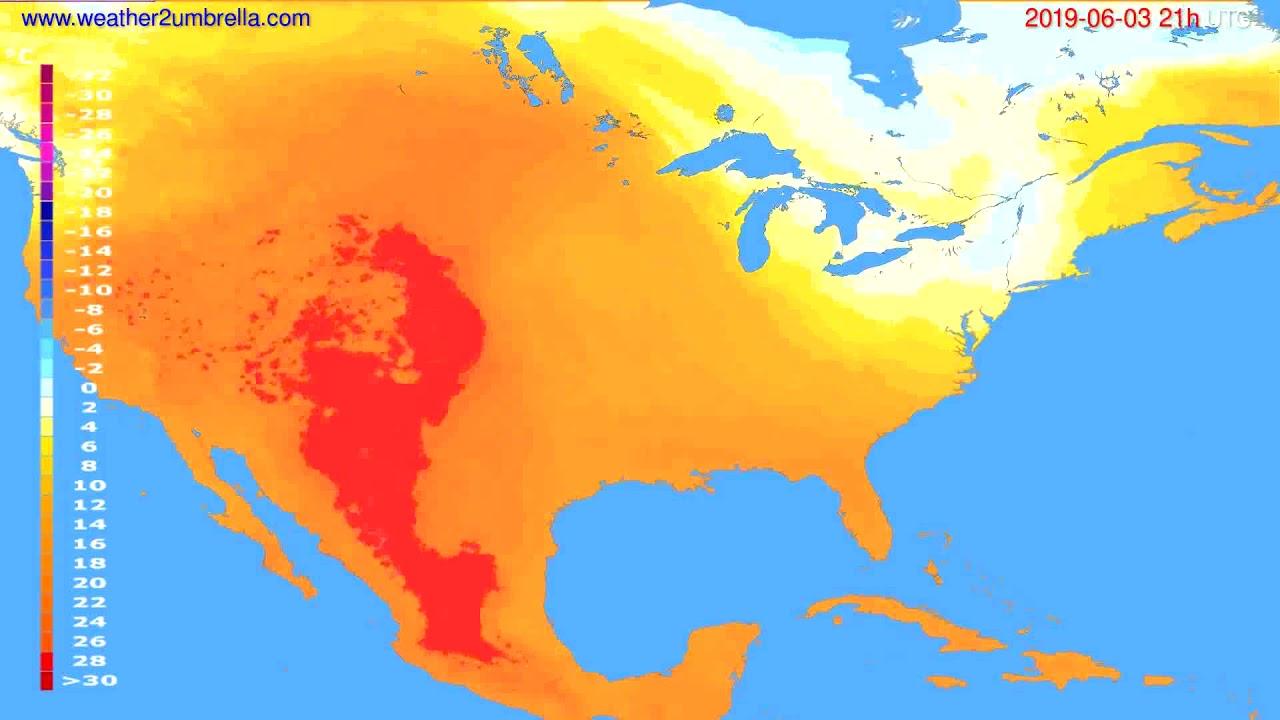 Temperature forecast USA & Canada // modelrun: 00h UTC 2019-06-02