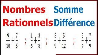 Maths 4ème - Les nombres rationnels Somme et Différence Exercice 2