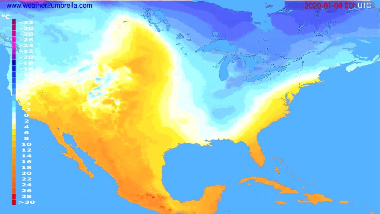Temperature forecast USA & Canada // modelrun: 12h UTC 2020-01-03