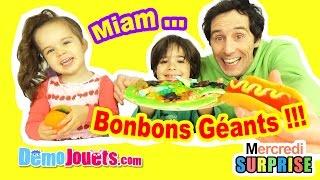 Video (BONBON) HAMBURGER & HOT-DOG BONBONS GEANTS XXL - Démo Jouets - Giant Gummy Candy & Sweets Review MP3, 3GP, MP4, WEBM, AVI, FLV September 2017