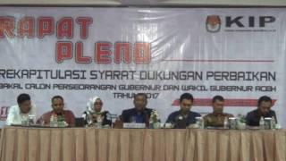 Rapat Pleno Verifikasi Dukungan Tahap Dua KIP Aceh