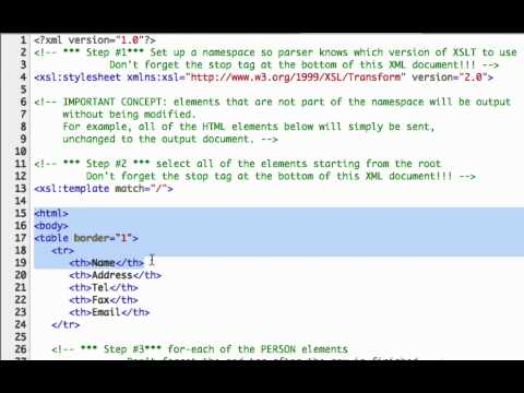 XSL Video Tutorial - This is a short presentation introducing XSLT and showing how it can be used to transform the data in an XML file into a different format including web pages...