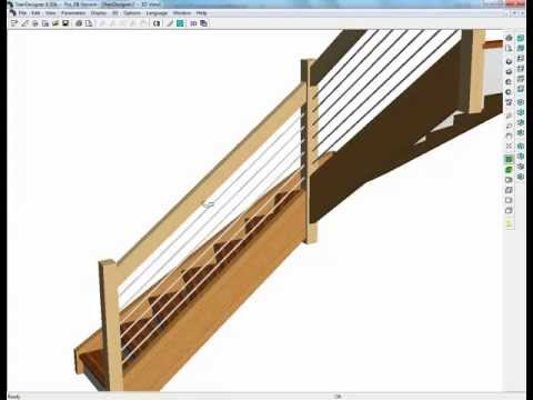 Design a stair with railing using StairDesigner