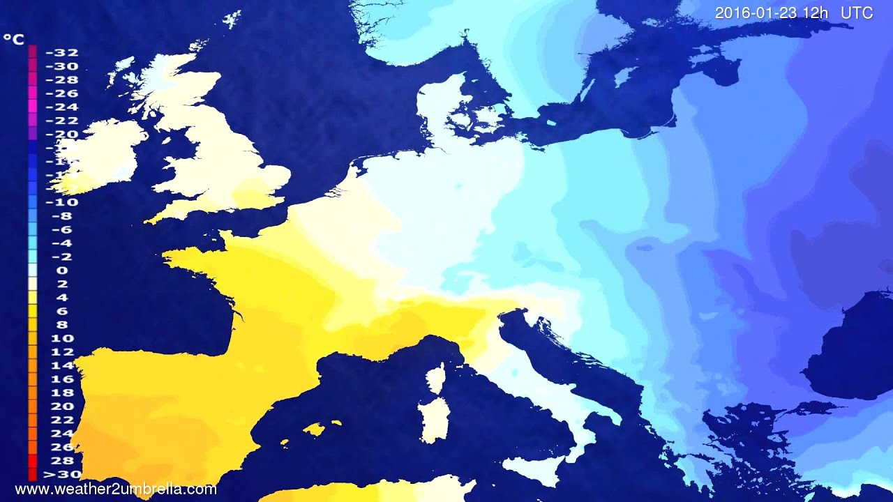 Temperature forecast Europe 2016-01-21