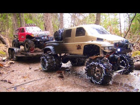RC ADVENTURES - OVERKiLL PUTS CHAiNS ON PiNKY ~ MUDDY SCALE 4x4 TRUCKS & TRAILER