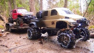 RC ADVENTURES - OVERKiLL PUTS CHAiNS ON PiNKY ~ MUDDY SCALE 4x4 TRUCKS&TRAILER