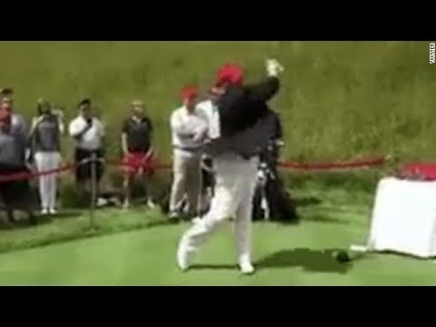 Trump retweets video hitting Hillary Clinton with golf ball