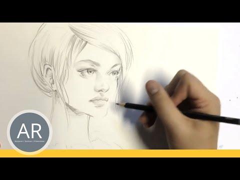 Zeichnen lernen  – Portrait Zeichnen, Halbprofil – Akademie Ruhr Tutorial