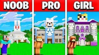 NOOB vs PRO vs GIRL FRIEND MINECRAFT PET HOUSE BUILD BATTLE! (Building Challenge)