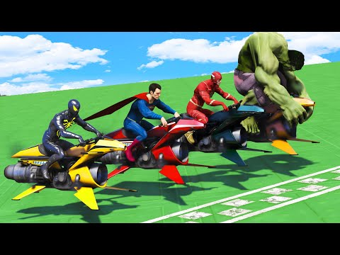 AVENGERS vs JUSTICE LEAGUE | Super Challenge Race Track Together #2 - GTA V Superheroes