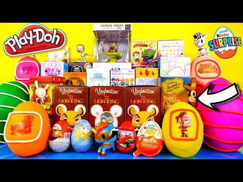 surprise - HUGE Play Doh Surprise Eggs + Blind Box UNBOXING :) We open up 25 surprise items including Kinder Joy, The Simpsons, Cars, Phineas and Ferb, Mickey Mouse Vin...