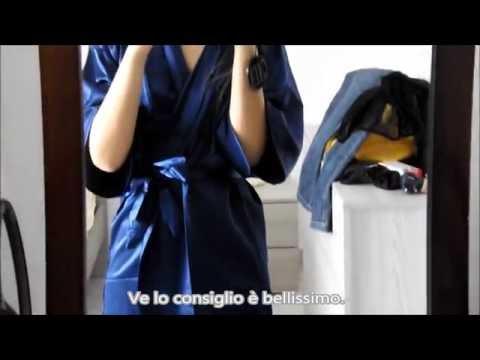 Vestaglia kimono in raso blu sensuale corto Surenow