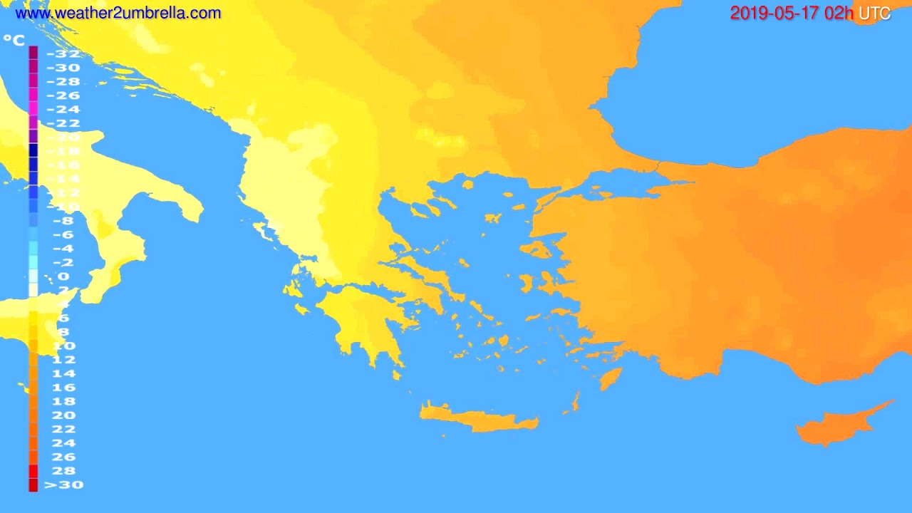 Temperature forecast Greece // modelrun: 00h UTC 2019-05-14