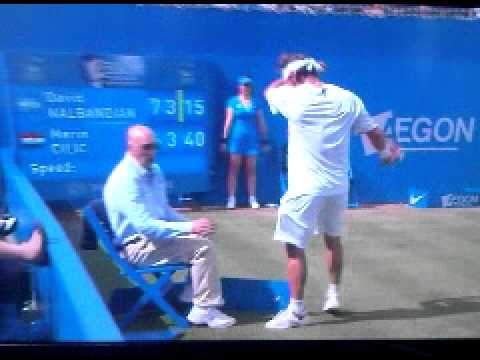 david nalbandian disqualified - David Nalbandian disqualified from Queen's final after kicking advertising board & cutting linesman's leg. Cilic wins.