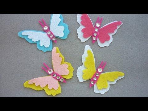 come realizzare delle farfalle in feltro