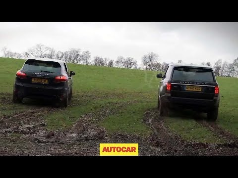 range rover v8 supercharged vs porsche cayenne - drag racing off road!