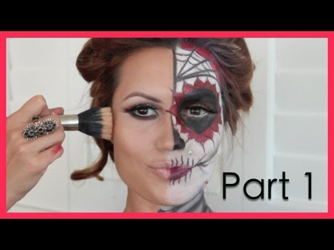 Dia De Los Muertos Halloween Make Up Tutorial (Part1)