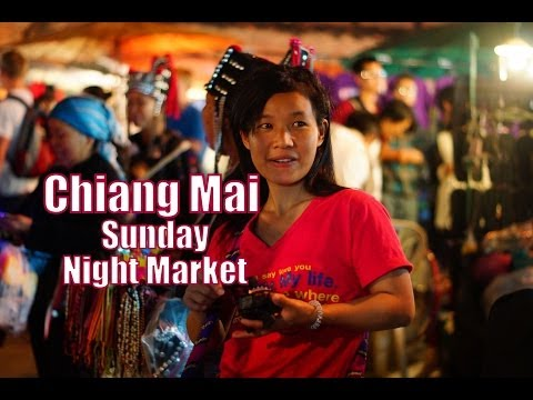 Visiting the Sunday Night Market in Chiang Mai, Thailand travel video
