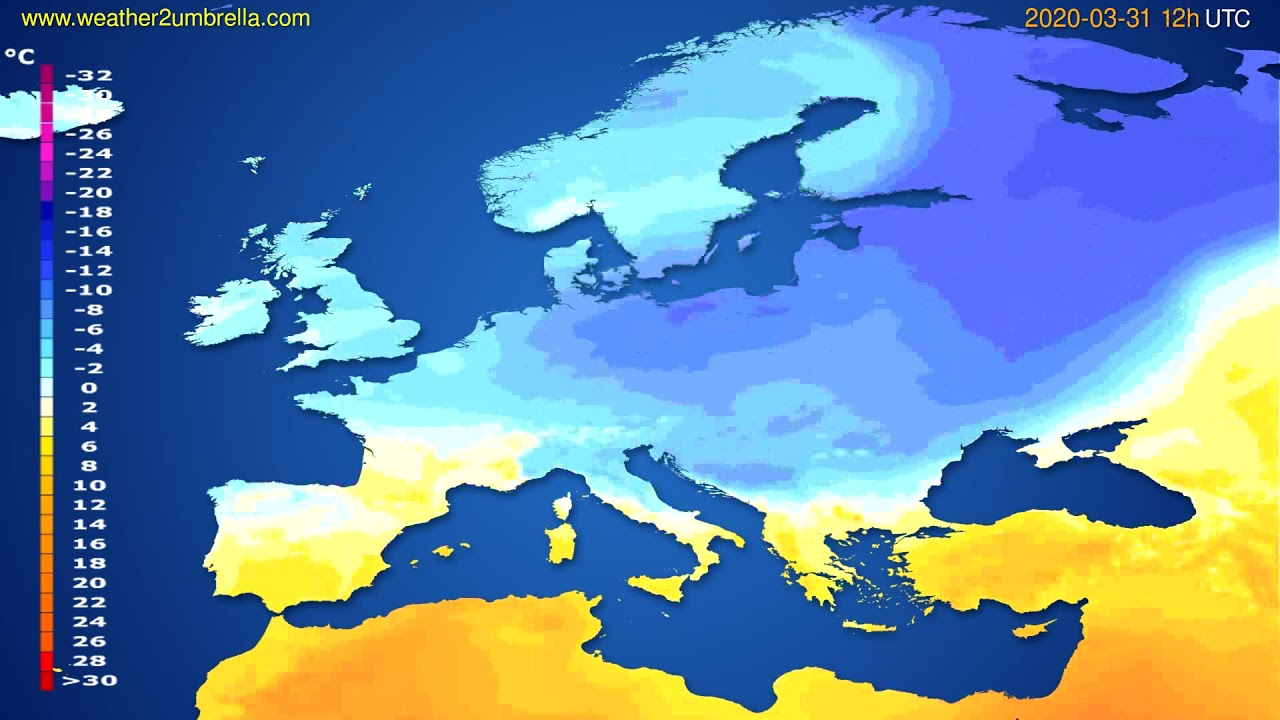 Temperature forecast Europe // modelrun: 00h UTC 2020-03-31