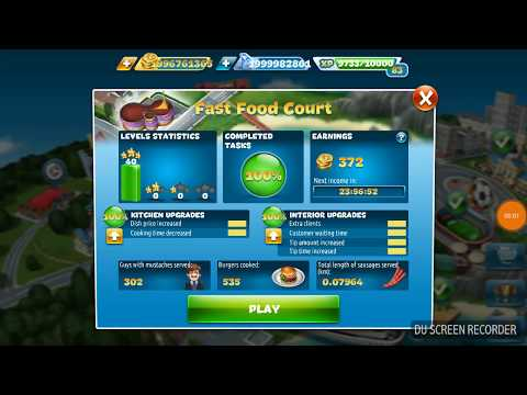 Cooking Fever Fast Food Court Last Level 40 With Automatic Machine Maxed Out Kitchen And Interior
