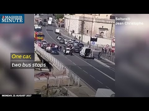 At least one person was killed and another injured in Marseille on Monday after a car crashed into two bus shelters