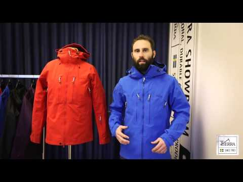 Alpinist jacket in a minimalistic design for low weight. Athletic fit for movability and function. Fully adjustable hood, to use with or without helmet. Hood peak reinforced with sheet adhisive and metalthread. Water repellent YKK vislon front zipper with inner storm flap. Two-way opening for harness compatibility and ventilation. Two chest pockets and one ski pass pocket at lower sleeve with YKK water repellent zippers . Zipped front ventilation. Two inner pockets, one for valubles and one for bulkstorage. Sleeves with articulated elbows and adjustable cuffs. Draw cord at hem. Single hand draw cords for all adjustments.