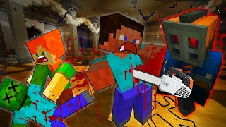 STEVE And ALEX CHASED By CHAINSAW KILLER - MINECRAFT STEVE AND ALEX [220]