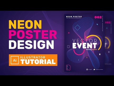 Neon Abstract Poster Design In Adobe Illustrator - Adobe Illustrator Tutorial