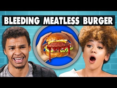 BLEEDING MEATLESS BURGER - Impossible Burger | College Kids Vs. Food
