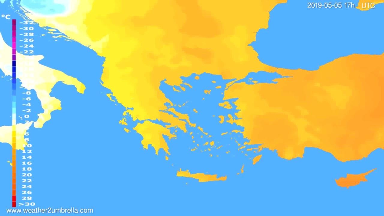 Temperature forecast Greece // modelrun: 00h UTC 2019-05-04
