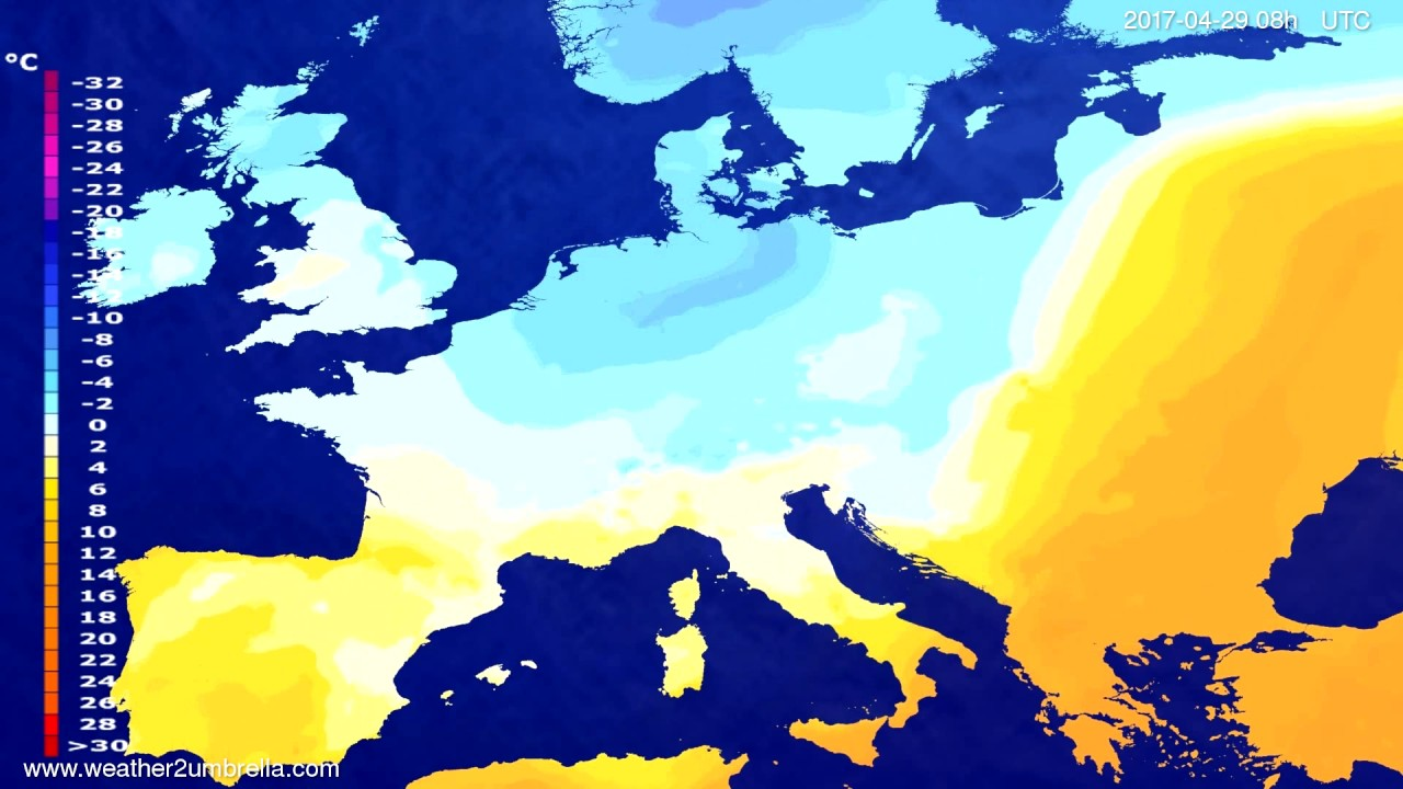 Temperature forecast Europe 2017-04-26