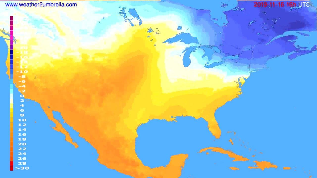 Temperature forecast USA & Canada // modelrun: 12h UTC 2019-11-15