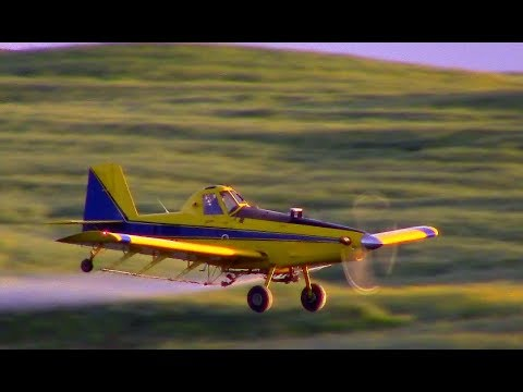 Air Tractor 402 with 70 year old pilot. Very skilled.