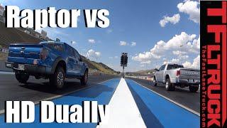 Ford F-150 Raptor vs 2016 Ram 3500 Diesel Dually Drag Race: Brute vs Brawn by The Fast Lane Truck