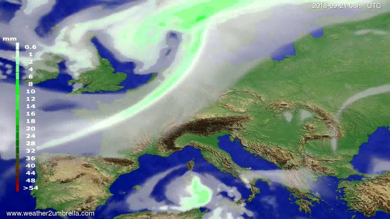 Precipitation forecast Europe 2018-09-18