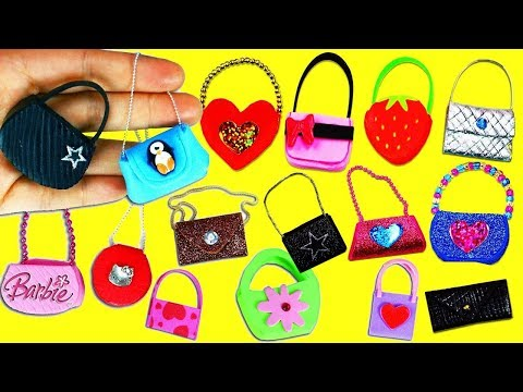 20 DIY Barbie Doll Miniature Purse, Handbag, Bag - 20 Different Styles  - simplekidscrafts