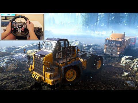 Caterpillar 770G Pulls Out Stuck Ford CLT9000 - SnowRunner Logitech G29 Gameplay