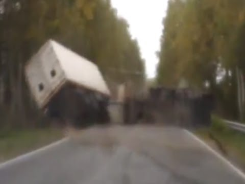 Dash cam captures truck flipping over