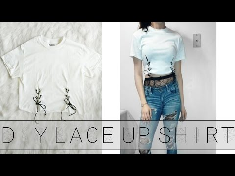 DIY LACE UP SHIRT | PINTEREST INSPIRED | Crop Top