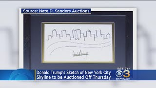 The President's sketch of NYC's skyline will be auctioned off Thursday.