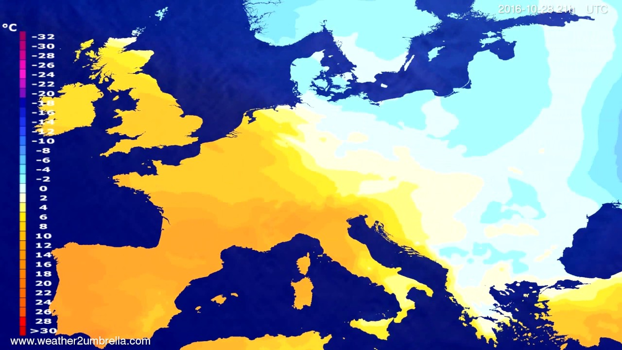 Temperature forecast Europe 2016-10-25