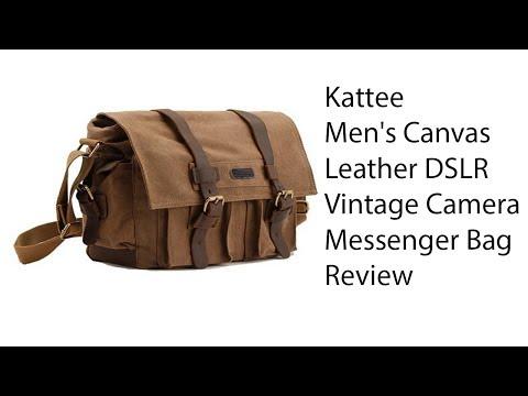 Kattee Men's Canvas Leather DSLR SLR Vintage Camera Messenger Bag Review