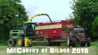 McCarthy Agri drawing Silage with a John Deere 7710, Fiatagri and a Valtra Valmet and a John Deere 6950 forager in Kilmeaney Co.Kerry. For more videos form silage 2016 please subscribe, like and share and also Follow on Twitter @agri_jmLike on Facebook JM Agri Videos.ion